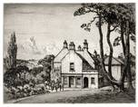 THE FOLLY. A PITMAN RESIDENCE? ORIGINAL ETCHING by CYRIL H BARRAUD