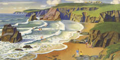 North Cornwall [Porthcovan Beach] by Adrian Allinson